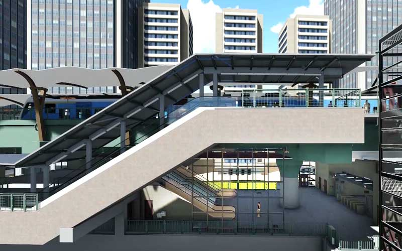 bim infrastructure model of a metro station
