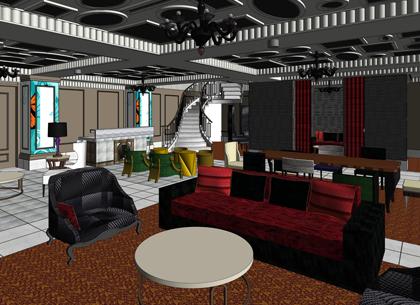 revit interior design model of hotel building