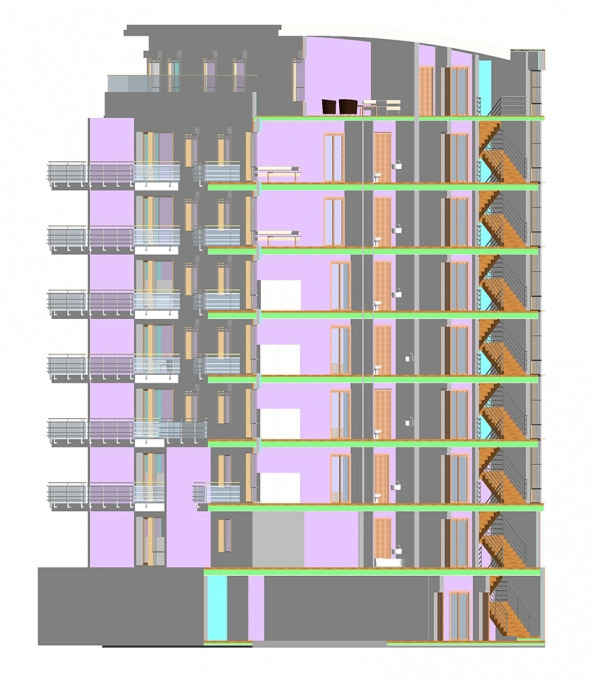 3D model of an apartment building