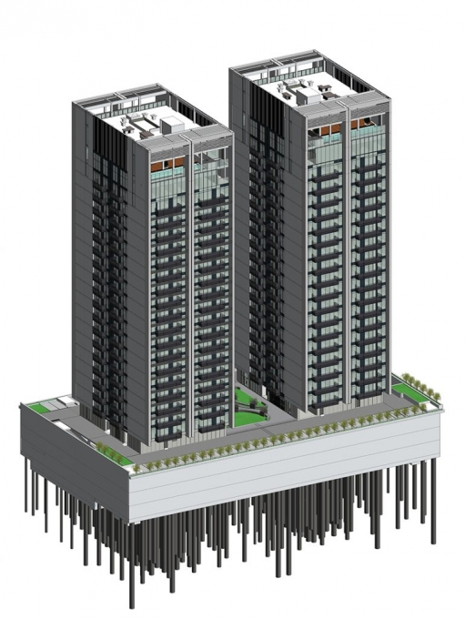 architectural bim model of an apartment building