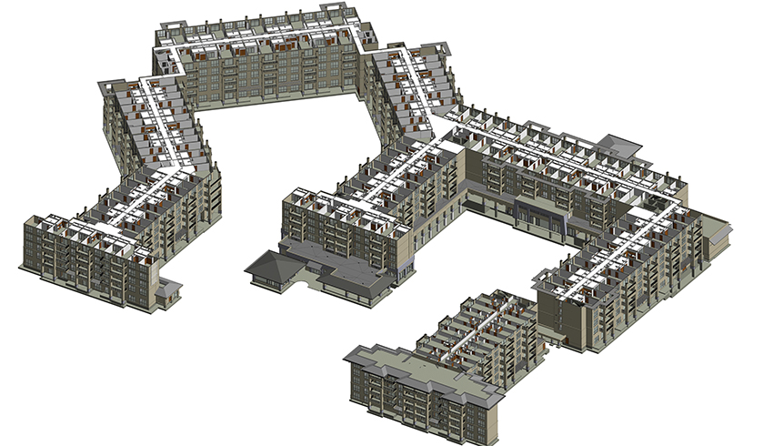 3d architectural model of a commercial building