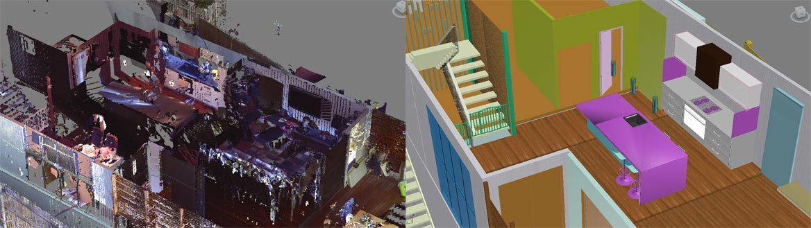 scan to bim modeling of interior space