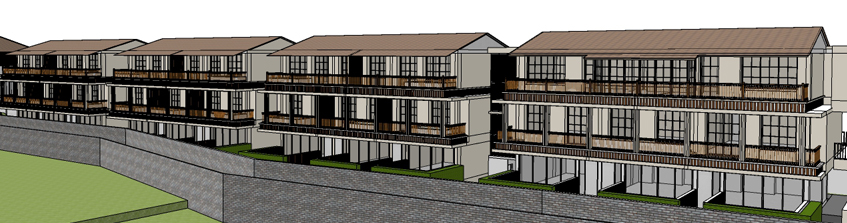 Architectural 3D model of an old age home facility building